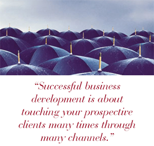 Successful business development is about touching your prospective clients many times through many channels.
